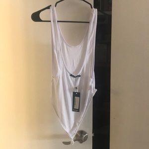 White Scoop Neck Bodysuit